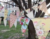 baby shower banner shabby chic Pink vintage blue beach wedding bunting Birthday tea party cottage rustic burlap rose floral decoration SALE