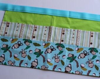Classroom Apron-  Monkey Business (green & blue)