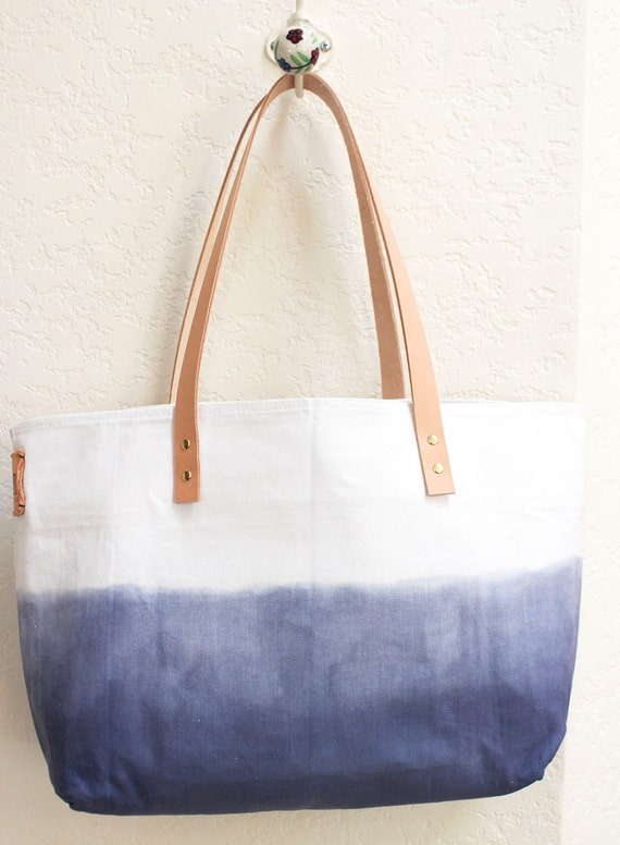 Ombre TOTE BAG..denim blue (with leather strap)