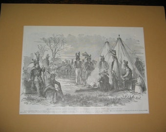 ANTIQUE NATIVE AMERICAN Print,  Magazine Page, Matted, Indian Wars Era (1866-90)
