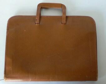 Vintage portfolio, brown leather, briefcase, period movie from Diz Has Neat Stuff