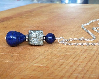 Lapis and Pyrite Necklace - Lapis Jewelry - Sterling Silver Jewelry - Natural Gemstone Jewellery - Pendant - Long Chain