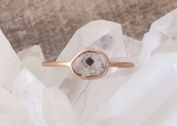 Diamond slice and solid rose gold ring