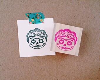 Frida Kahlo Sugar Skull Hand Carved Rubber Stamp