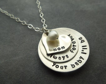 Mother of the Bride gift, Personalized hand stamped sterling silver necklace