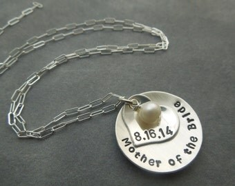 Mother of the Bride or mother of the groom hand stamped sterling silver necklace