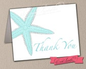 Starfish Thank You Card, Printable DIY Folded Card A1 Size in Aqua, Beach Wedding, Bridal Shower, INSTANT DOWNLOAD by Event Printables
