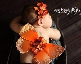 Newborn photo prop butterfly wings headband baby girls orange rust perfect for autumn