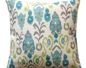 Ikat Pillow, Frost Neda Birch Decorative Pillow Cover, Blue Pillow Case, Zippered Pillow, Textured Fabric, Burlap Pillow, Green Cushion