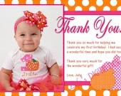 Pumpkin Thank You Card Orange Polka Dot Hot Pink Photo Option Customizable Printable
