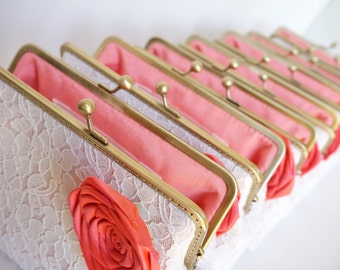 Coral Wedding / Bridesmaids gifts / set of 6 Lace clutches with chains / wristlet clutches - or choose your own initial option