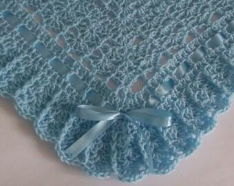 Baby Blanket / Afghan , Crochet Baby Blanket Granny Square Afghan, Blue, Christening, Baptism