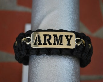Paracord Survival Bracelet - Black with ARMY Insignia