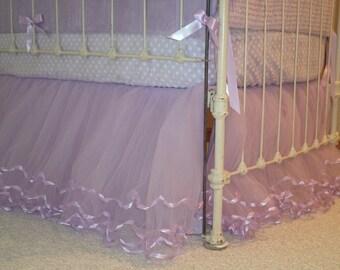Lilac Tulle Crib Skirt w/Matching Ribbon & Lining