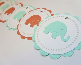 Baby Shower Favor Tags - Thank You Tags - Mint and Coral  - Set of 12 tags - Handmade - Elephant
