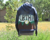 Furthur mountain scene hippie style patchwork hooded sweatshirt