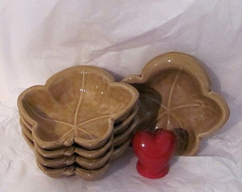 Vintage Belmar 850 USA  Gold Leaf Bowls - Footed - California Pottery - Glazed Ceramic - Golden Yellow