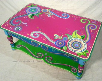 SOLD sample of CUSTOM WORK- Coffee Table- Custom Hand Painted Furniture Made to order