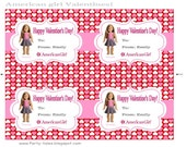 AMERICAN GIRL DOLL Happy Valentine's Day Printable Personalized Valentines You choose Doll Isabelle Saige Caroline Mckenna Kit Ruthie Emily