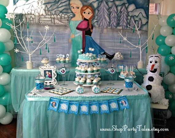 Art culos similares a frozen disney mural pintados a manos for Backdrop para mesa de dulces