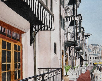 Art Print Rosemary Beach Street Scene No 2 -  8 x 10 - matted 11 x 14