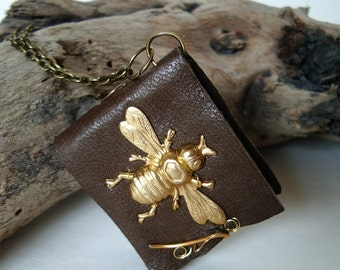 Bee book necklace, brown leather