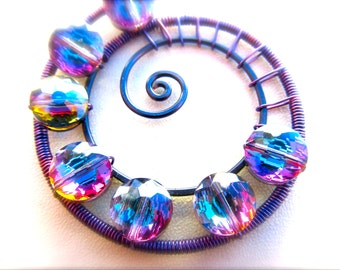 Black and Purple Wire Wrapped Spiral Pendant with Violet/Blue/Purple Vitrail Crystal Beads - Cord Included