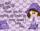Dress Up Party Thank You, Desssup Party Invitation, Purple Thank You Note