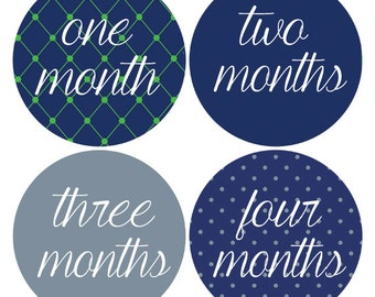 Grey and Navy Baby Stickers, Monthly Stickers, Bodysuit Month Stickers, Baby Photo Props, Milestone (192)