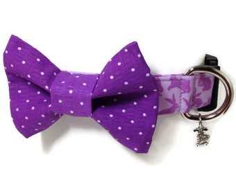 Lavender and Purple Easter Bunny Bow Tie Dog Collar size Extra Large