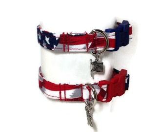 Patriotic Flag Dog Collar size Extra Small