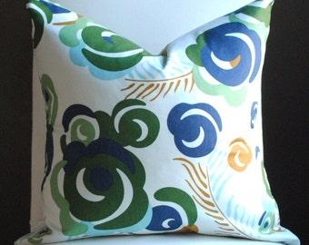 Ready to Ship-Beautiful Decorative Pillow Cover-20x20-Ultramarine- BOTH SIDES-Designer Fabric- Blue, Aqua, Green & Camel