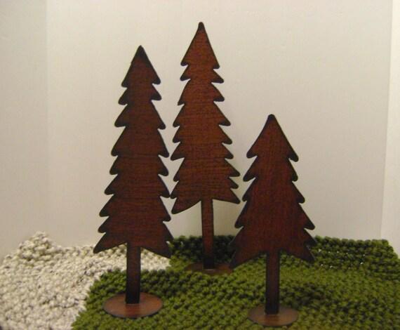 Trees set of metal large shelf winter