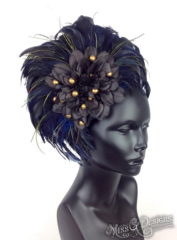 SPRING CLEARANCE SALE Blue Feather Headdress with Black Flower