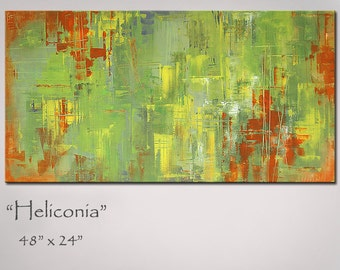 Painting Abstract Art Green and Orange Large 48x24 Original Abstract Art