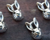 12 Silver Rabbit Head Charms 14mm Easter Bunny