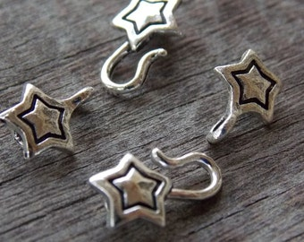 12 Silver Star Hook and Eye Clasps 27mm Antiqued Silver