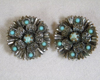 1940s Silver Filigree Brooch CZECHOSLOVAKIAN GLASS Turquoise Stones PAIR