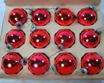 Vintage SHINY BRITE ORNAMENTS Set/12 Lipstick Red Mercury Glass Christmas Tree