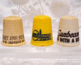 Celluloid Thimble Advertising Gulf Gas Sunbeam and Mary Ann Silks