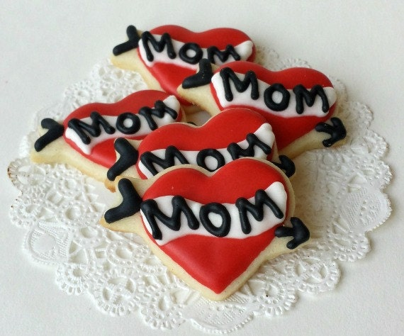 Mom Tattoo Heart Cookies - Mini Bites - Mother's Day Cookies