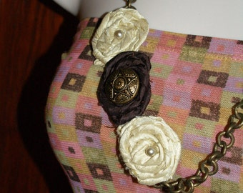 Butter Cream and Chocolate Dupioni Silk Bib Necklace with Flower and Beading with Bronze Toned Chain *Free Shipping*