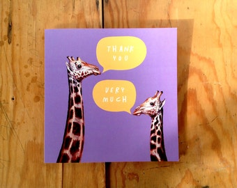 SALE -  You Giraffe Purple Orange Eco Friendly Art Square Greeting Card