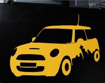 Seattle Skyline Mini Cooper Sticker Decal
