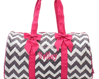 Personalized Quilted Large Gray Chevron Duffel Bag Gym Dance or Overnight Hot Pink Trim - Monogram FREE- Zig Zap Pattern