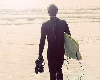 Surfer photo, surfer print, surfer canvas, surfer walking toward ocean, surfing wall art, California photo, oversized art
