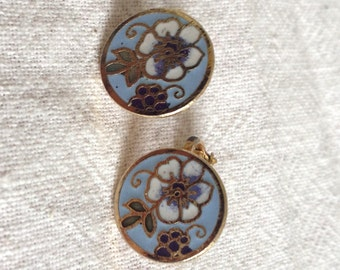 Vintage Enameled Clip Earrings - Floral Light Blue White and Green Enameled Earrings - FREE US SHIPPING!
