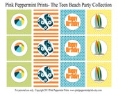 NEW INSTANT DOWNLOAD The Disney Teen Beach Movie Inspired Party Printable Party Collection- Printable 2 inch party tags