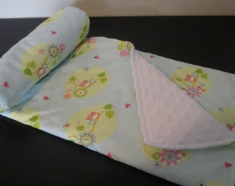 Ultra Soft Baby Blanket - Blue Owl - WITH CUSTOM LETTER