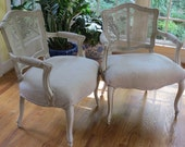 Pair of French Caned Back Armchairs - Totally Refurbished